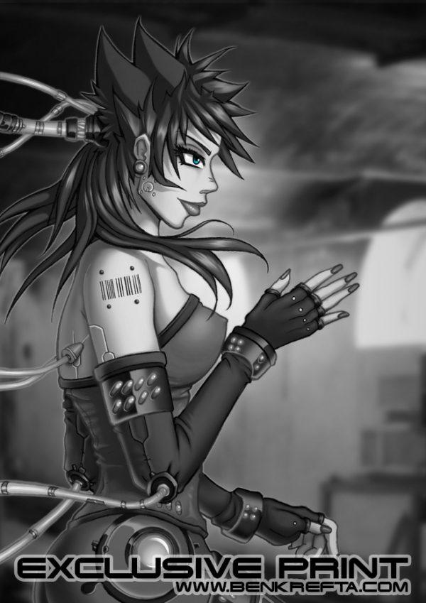 cybernetic manga girl Print