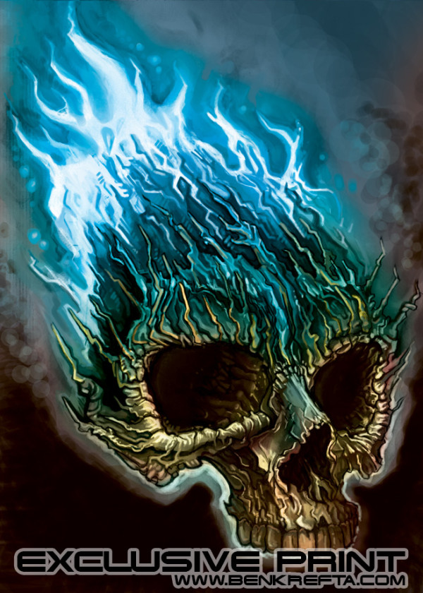 Flaming Skull Print