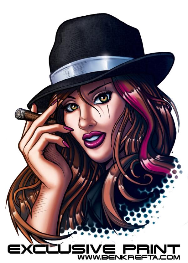Smoking Gangster Girl Print