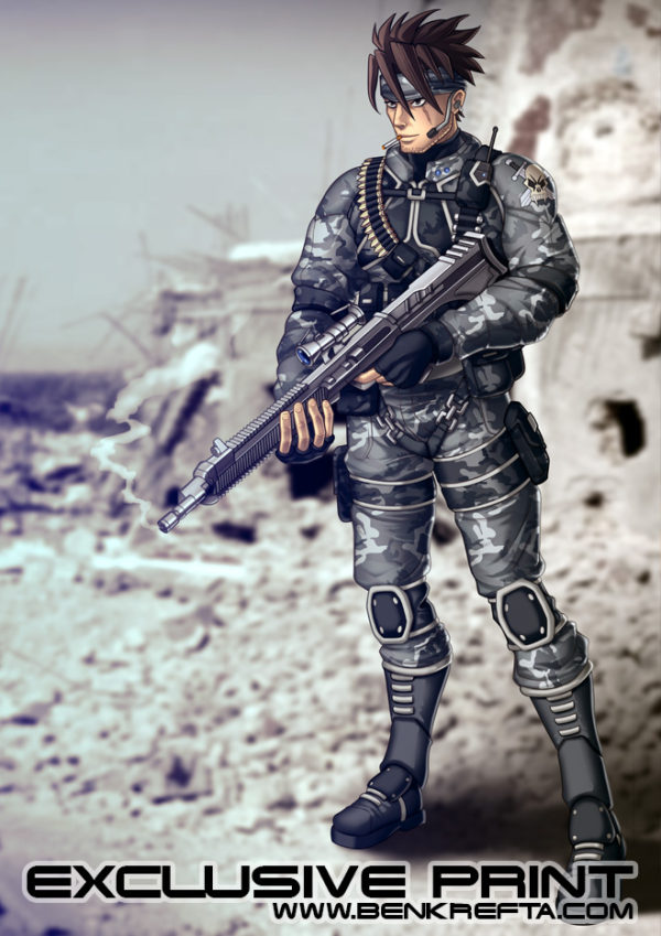 Manga Soldier Print