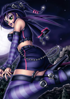 Halloween Manga Witch Girl Print