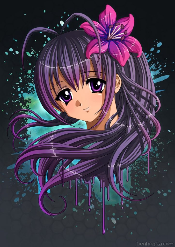 Anime Girl Portrait - Dark Hair
