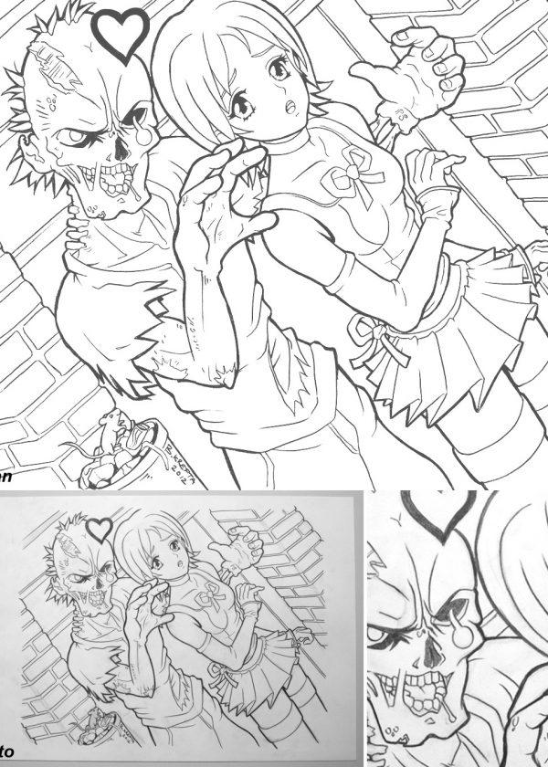 Anime zombie girl art