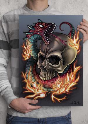 Skull Snake Print