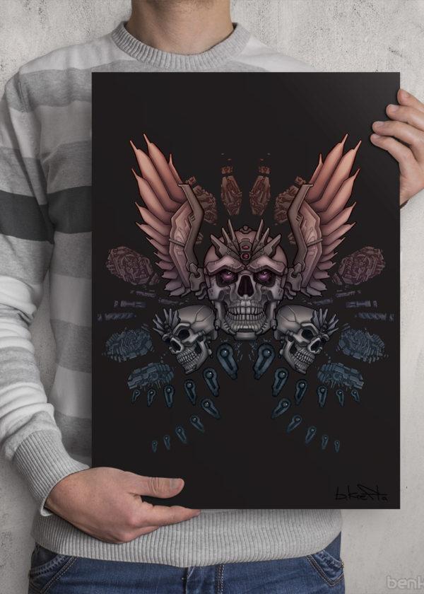 Mechanical skull Print