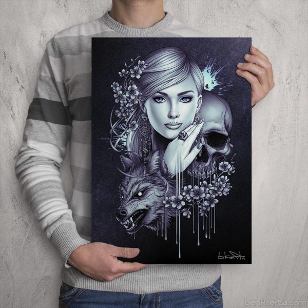 Skull Wolf Girl Print