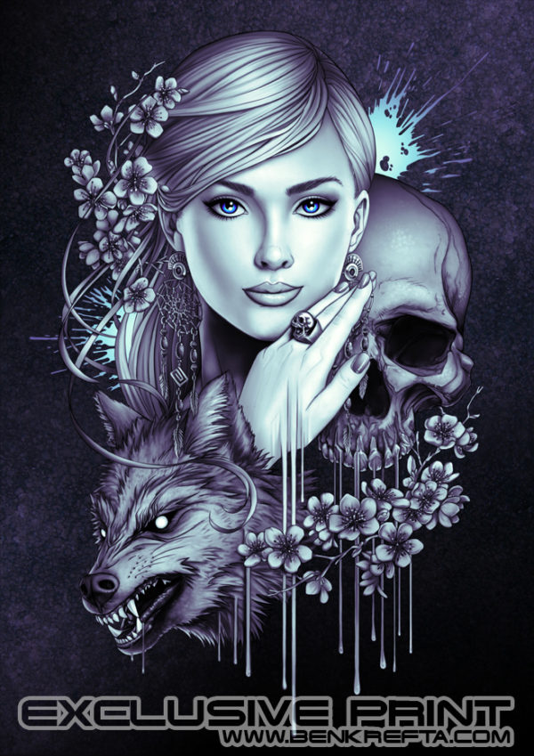 Skull Wolf Girl Print - Photo