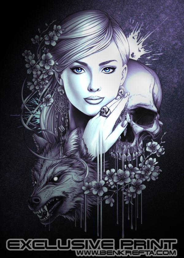 Skull Wolf Girl Chrome edition