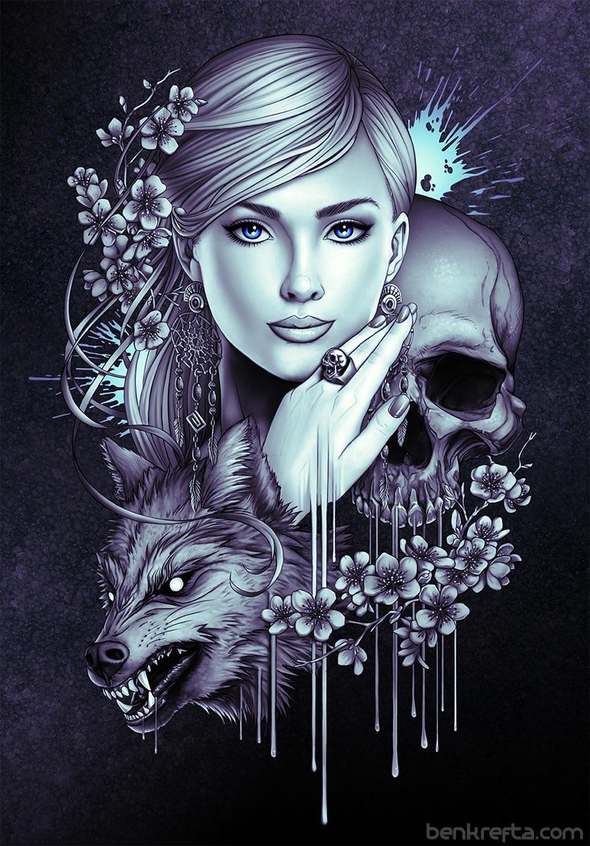 GirlWolfSkull