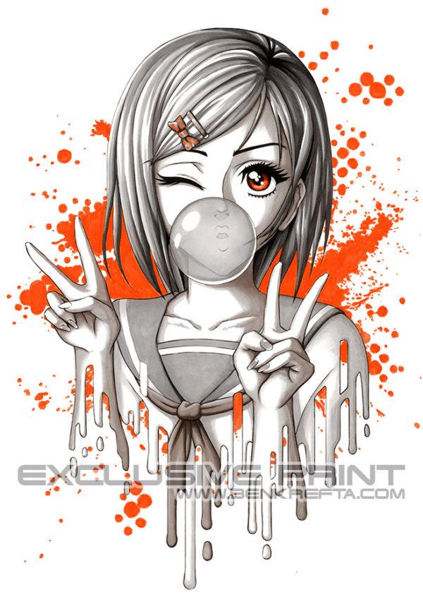 Bubblegum MangaGirl Art Print
