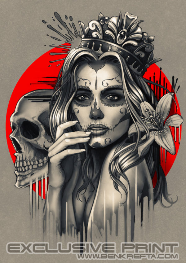 Sugar Skull Crown Print