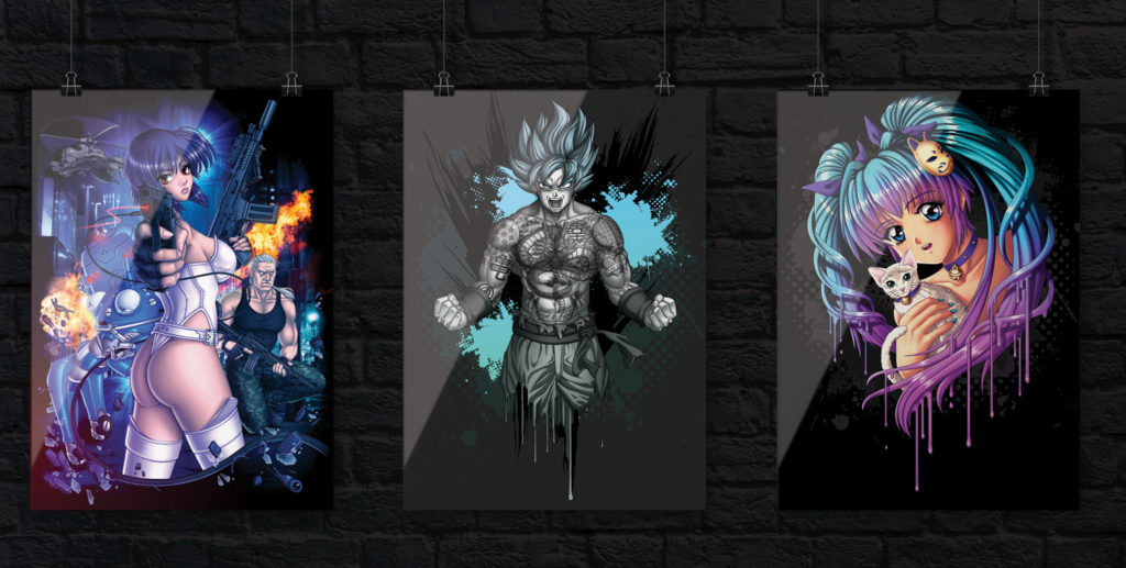 anime posters goku ghost shell cat