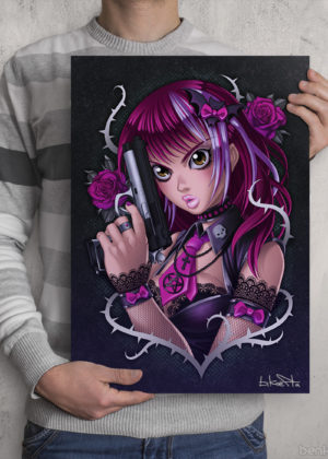 Goth Punk Gun Girl Print