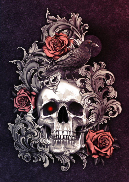 Skull with Roses Crow and Filigree