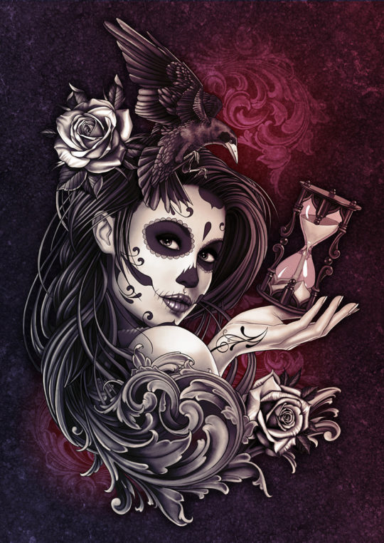 Sugar Skull Girl with Roses Crow and Filigree