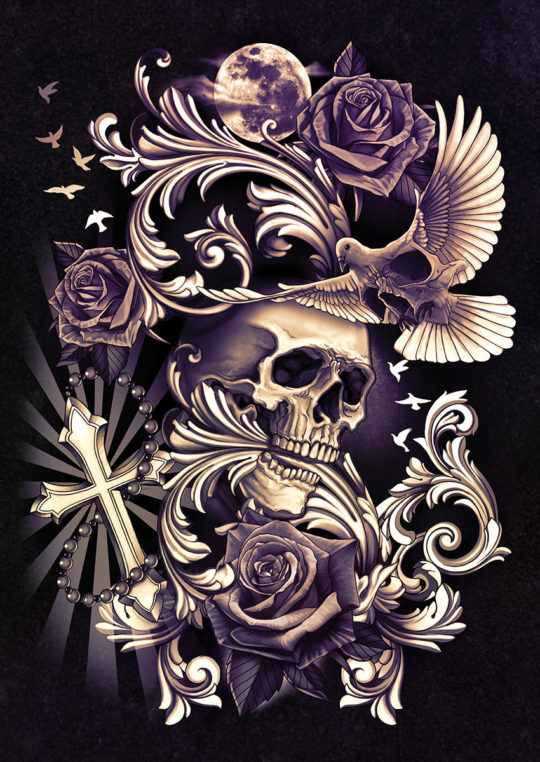Skull with dove and filigree