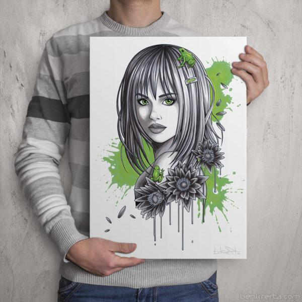 Green Frogs Girl Print